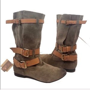 💥SALE💥 NEW Zara Distressed Taupe Leather Boots 9